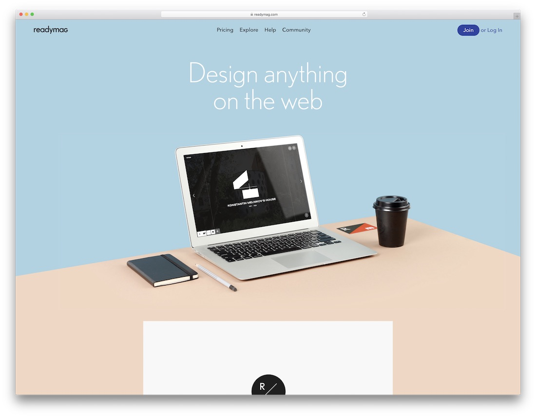 readymag drag and drop website builder