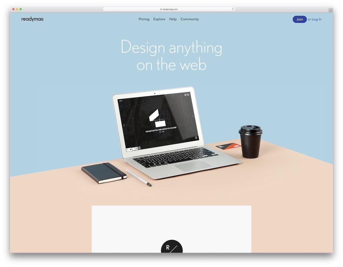 readymag free portfolio website builder