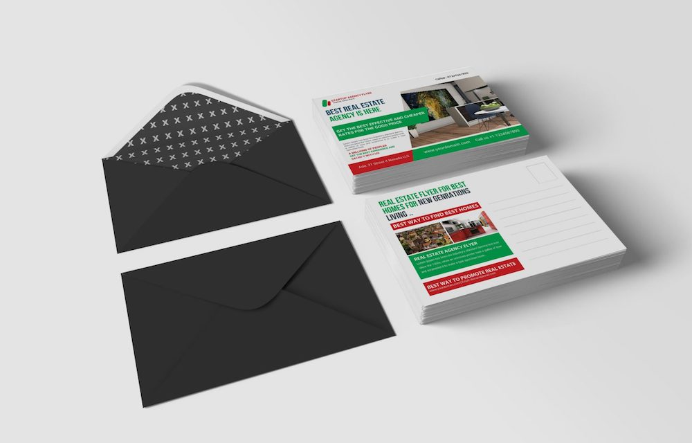 real estate business postcard psd mockup