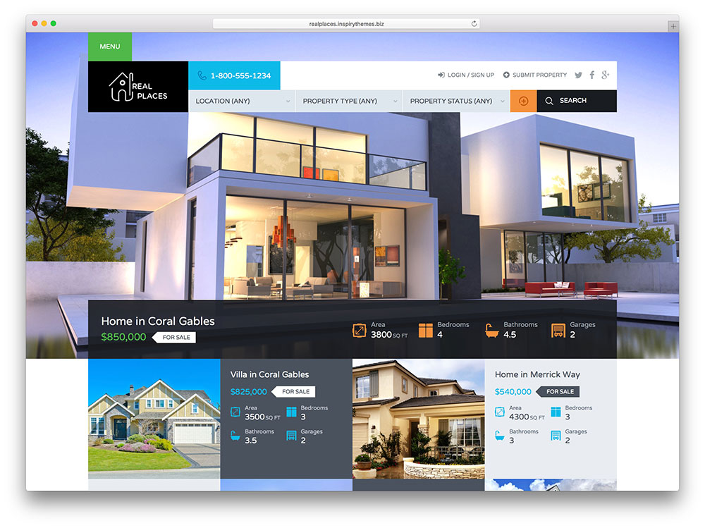 36 best real estate wordpress themes for agencies for Home plan websites