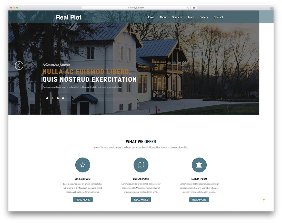 real plot free construction website template