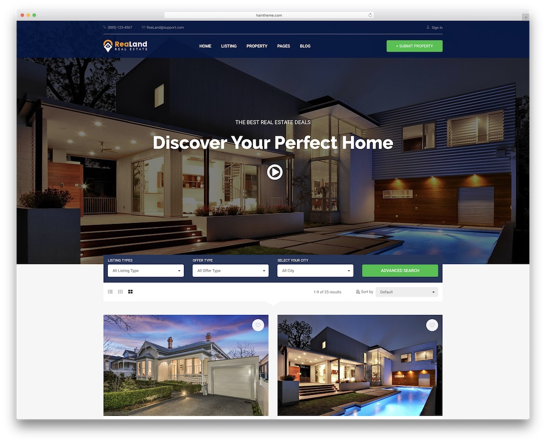 realand real estate bootstrap business website template