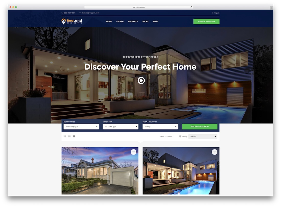 realand real estate website template