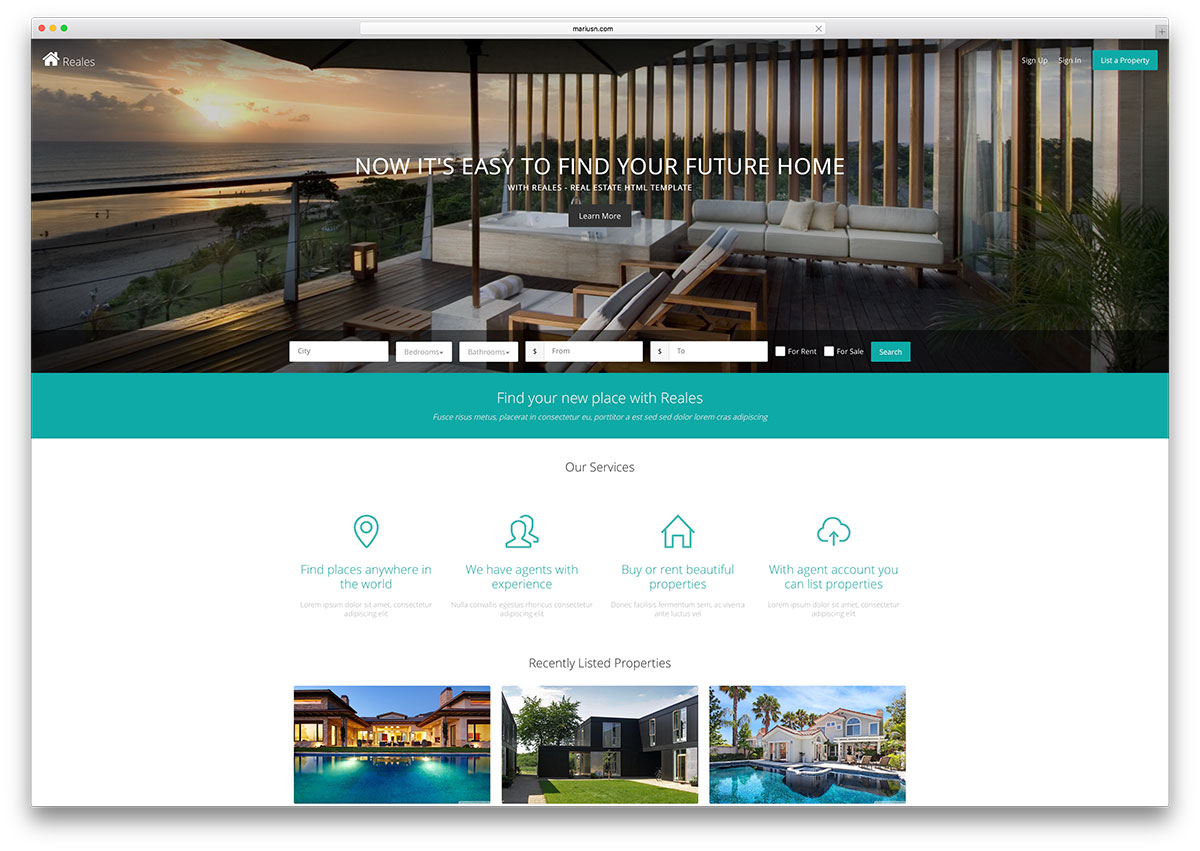 Reales real estate html5 website template