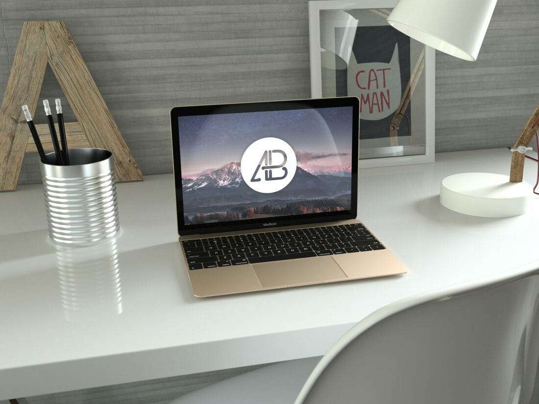 realistic gold 12-inch macbook mockup anthony boyd