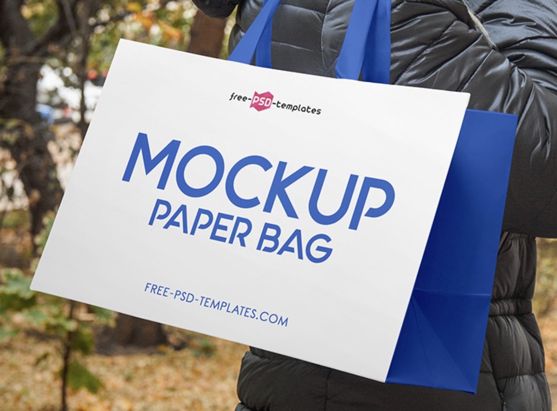 realistic paper bag psd mockup