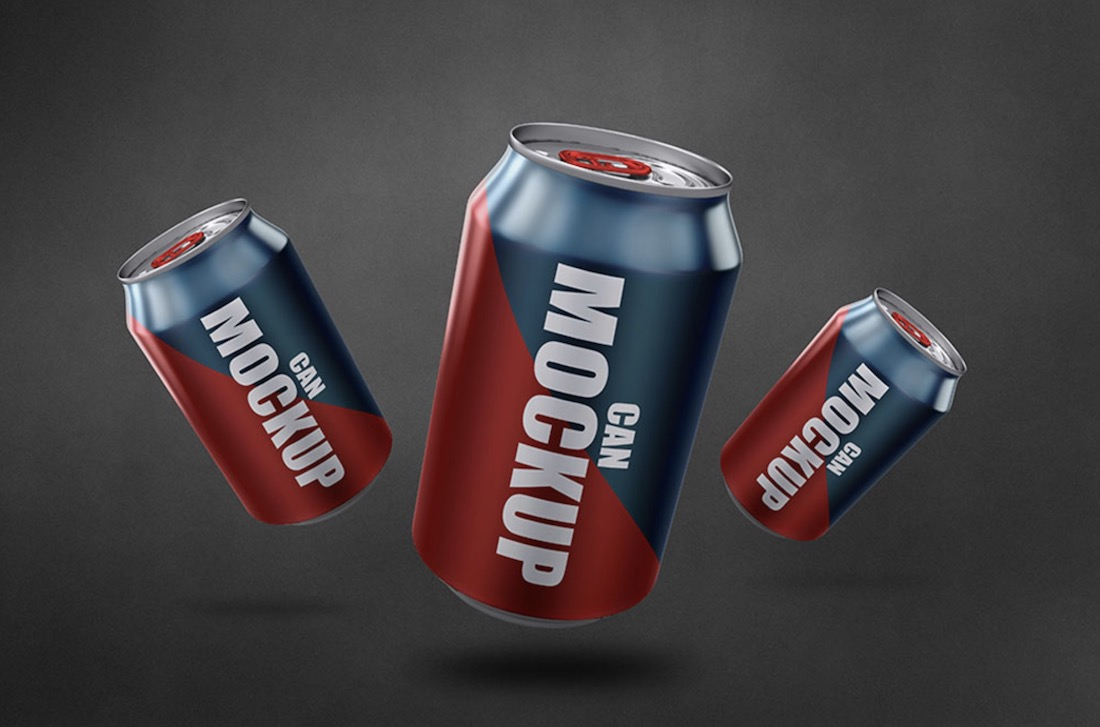 realistic soda can mockup free psd