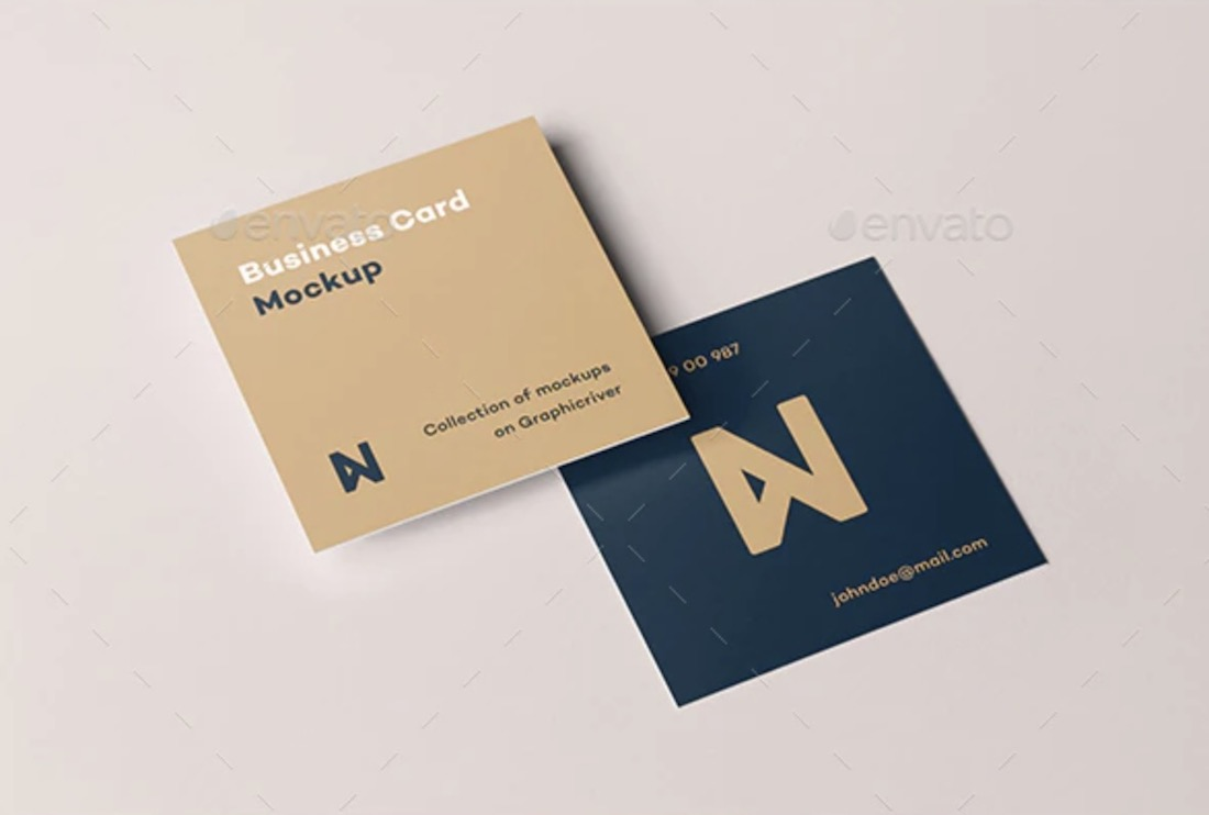 realistic square business card mockup