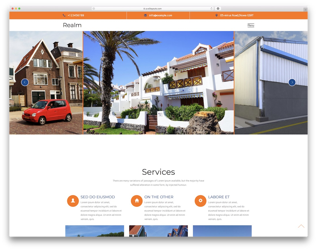 realm free construction website template