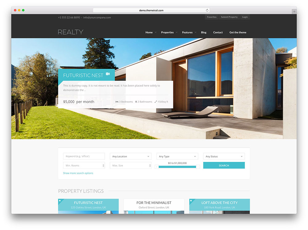 40 best real estate wordpress themes for agencies realtors and directories 2018 colorlib - Website for home design ...