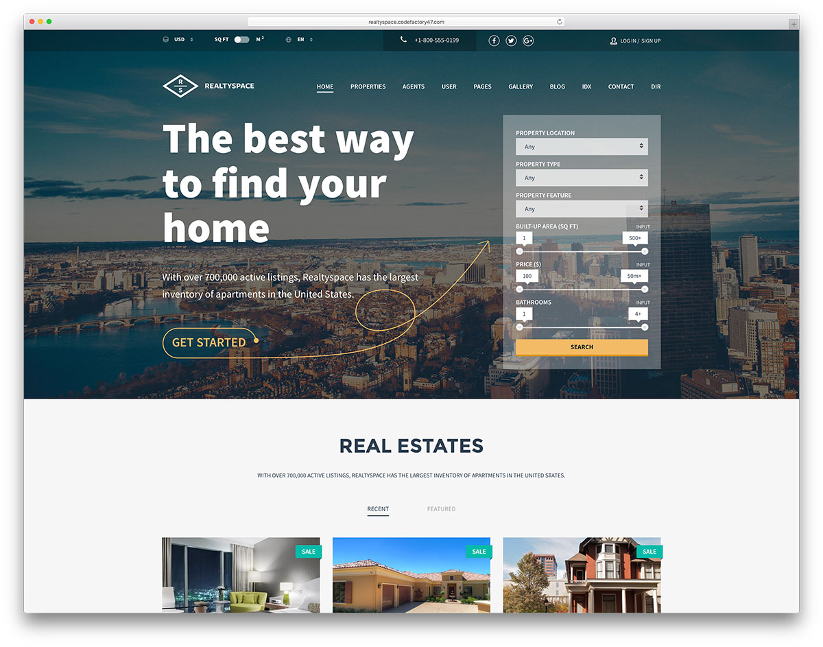Realtyspace Creative Real Estate Website Template