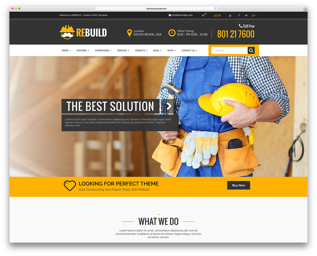 46 best construction company wordpress themes 2018 colorlib rebuild construction company wp website template reheart Gallery