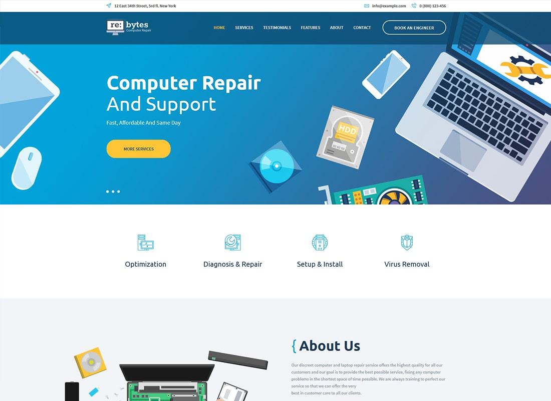 Re:bytes | Computer Repair Service WordPress Theme