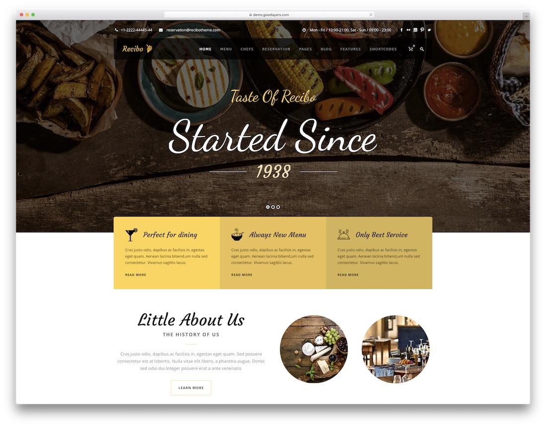 recibo food recipes wordpress theme