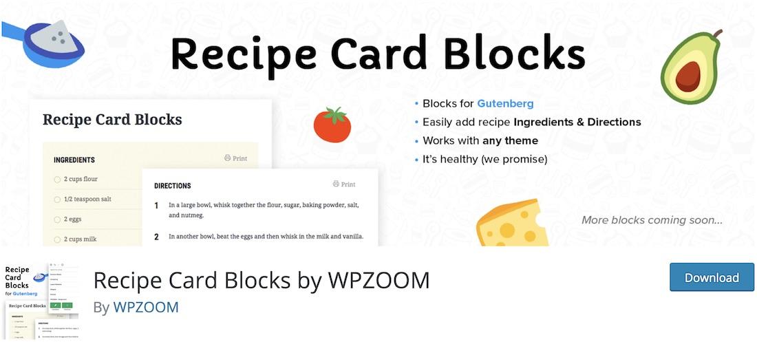 recipe card blocks wordpress plugin
