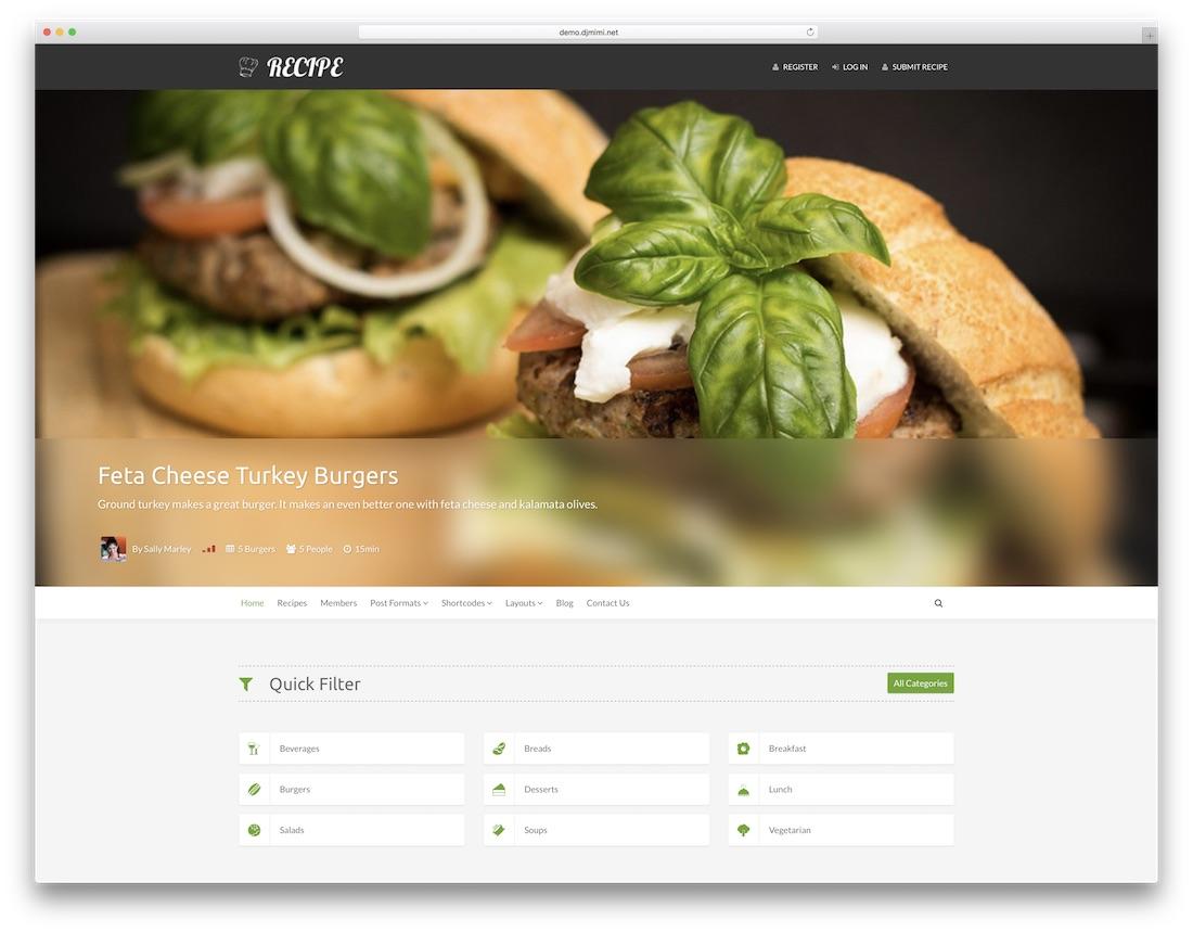 recipe food recipes wordpress theme