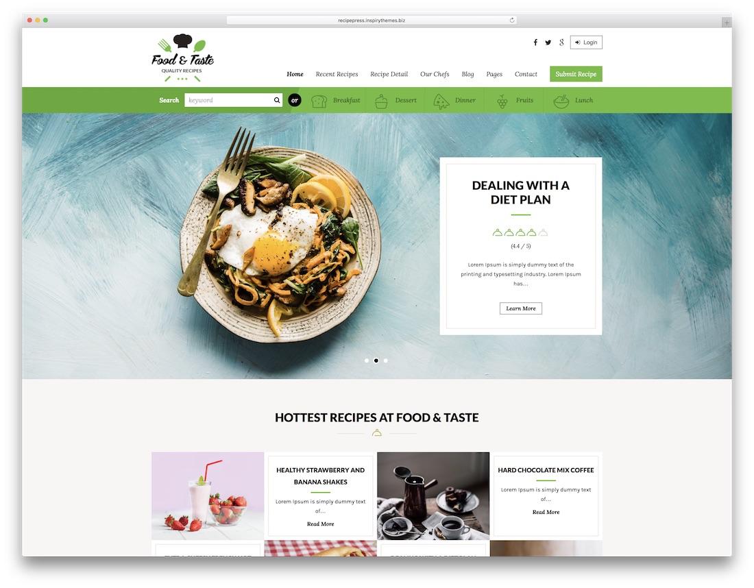 recipepress food recipes wordpress theme