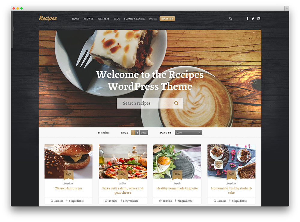 20 awesome food wordpress themes to share recipes 2017 for Wordpress create blog page template