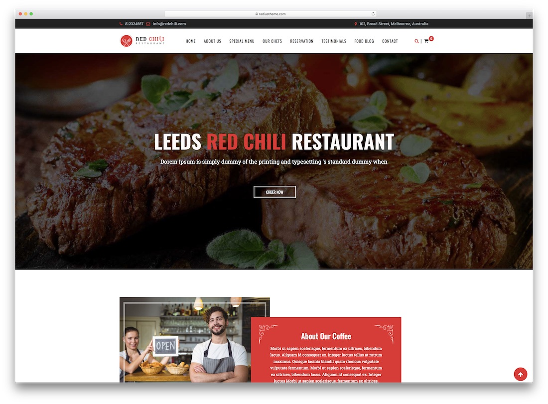 redchili catering wordpress theme