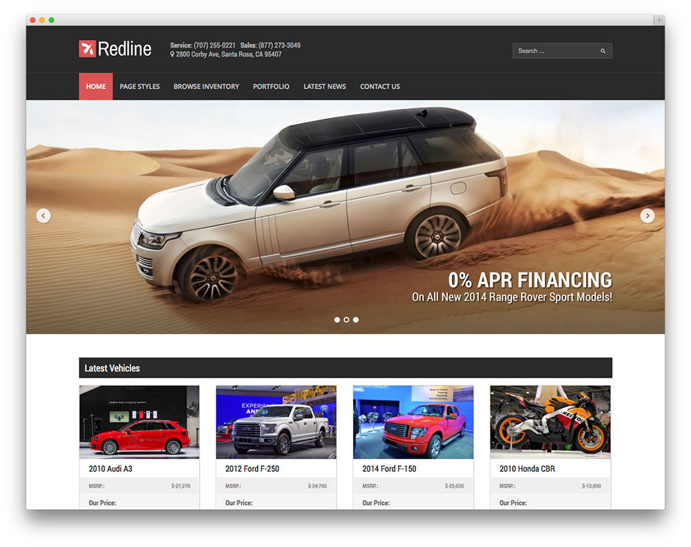 Redline car dealer template