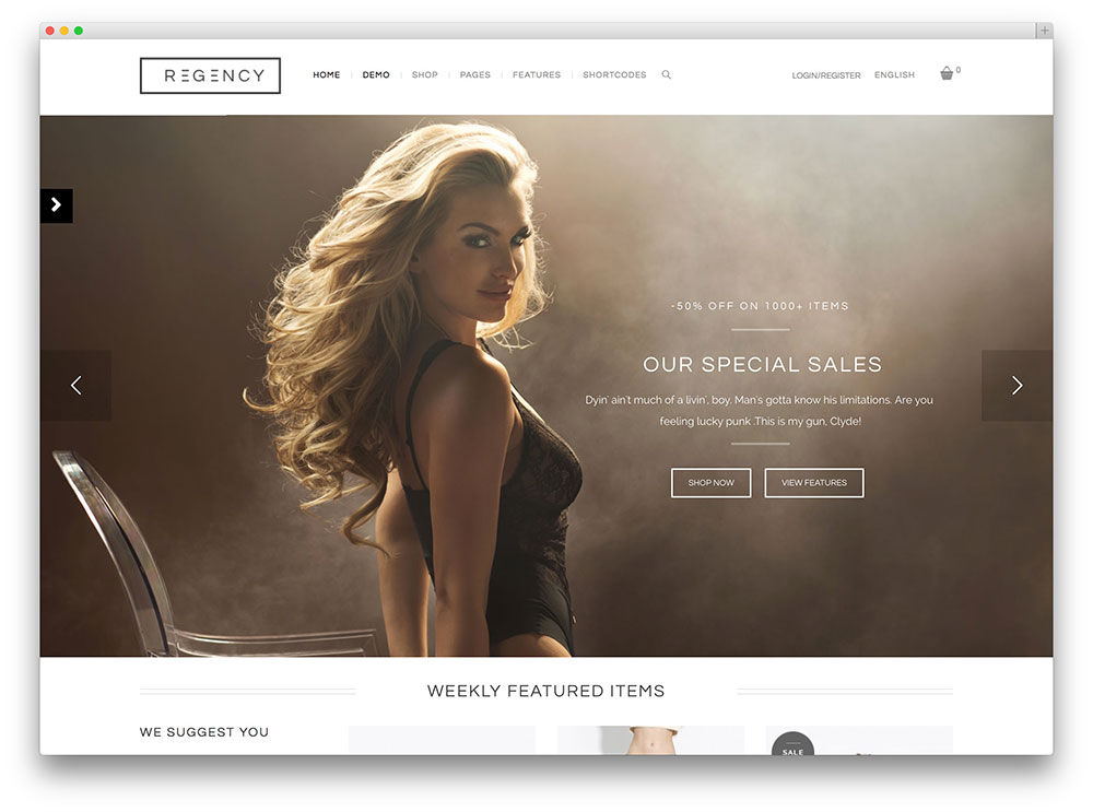 regency beautiful ecommerce shop theme