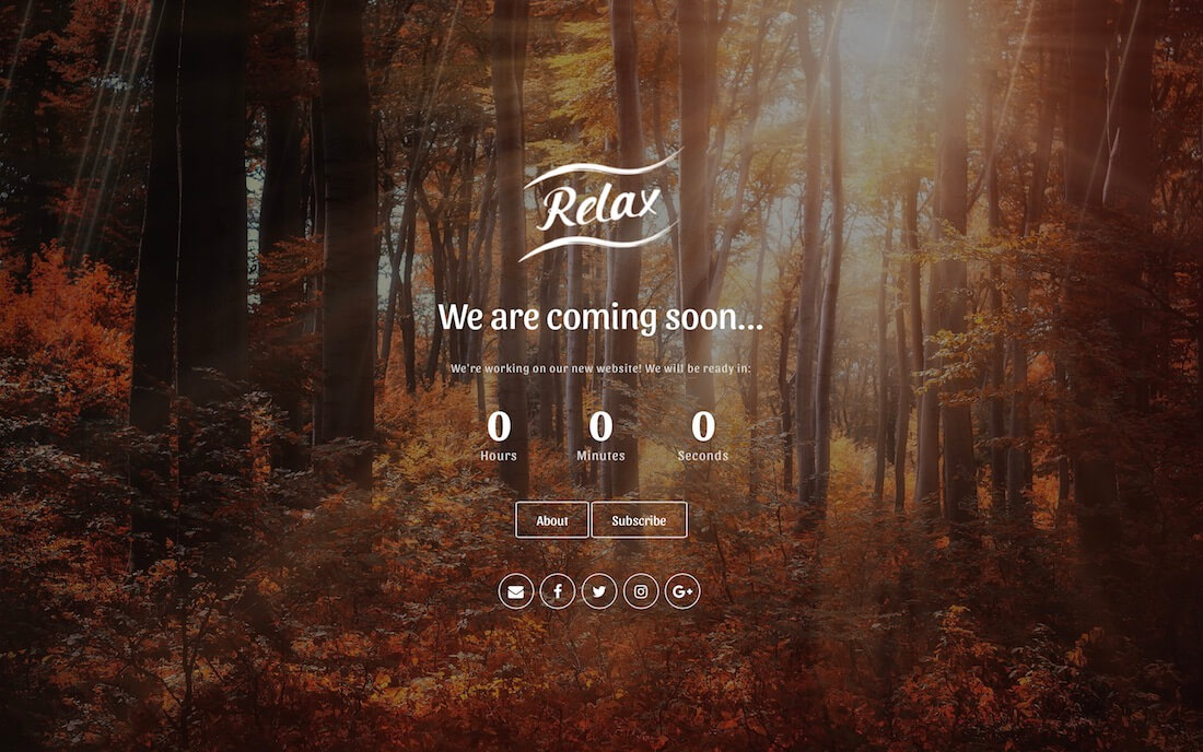 relax coming soon template