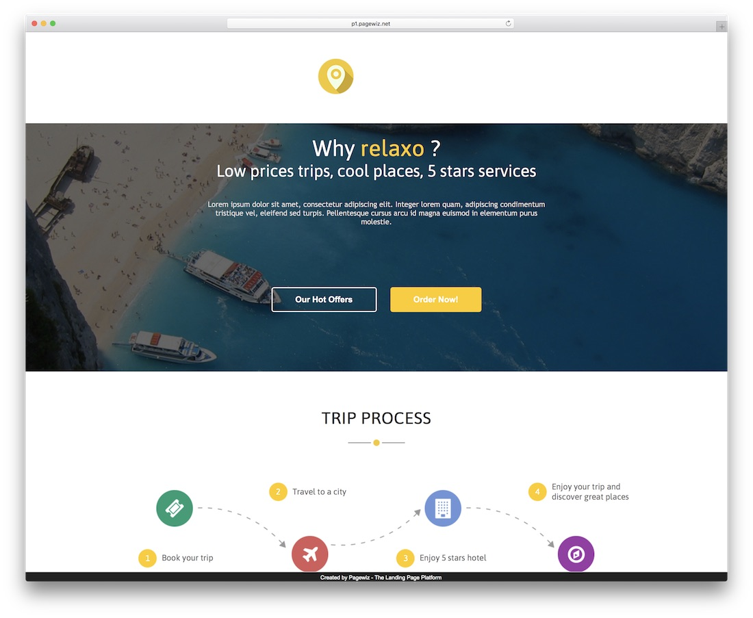 relaxo pagewiz landing page template