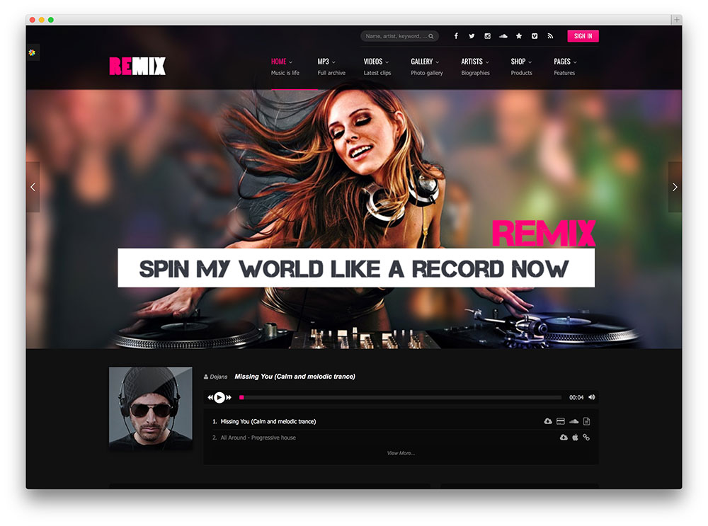 remix club music wordpress theme