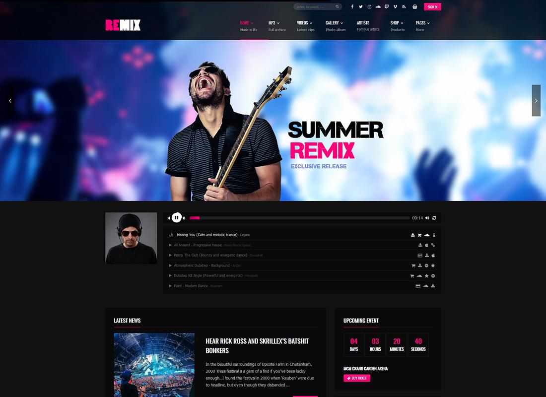 Remix Music   Music WordPress Theme