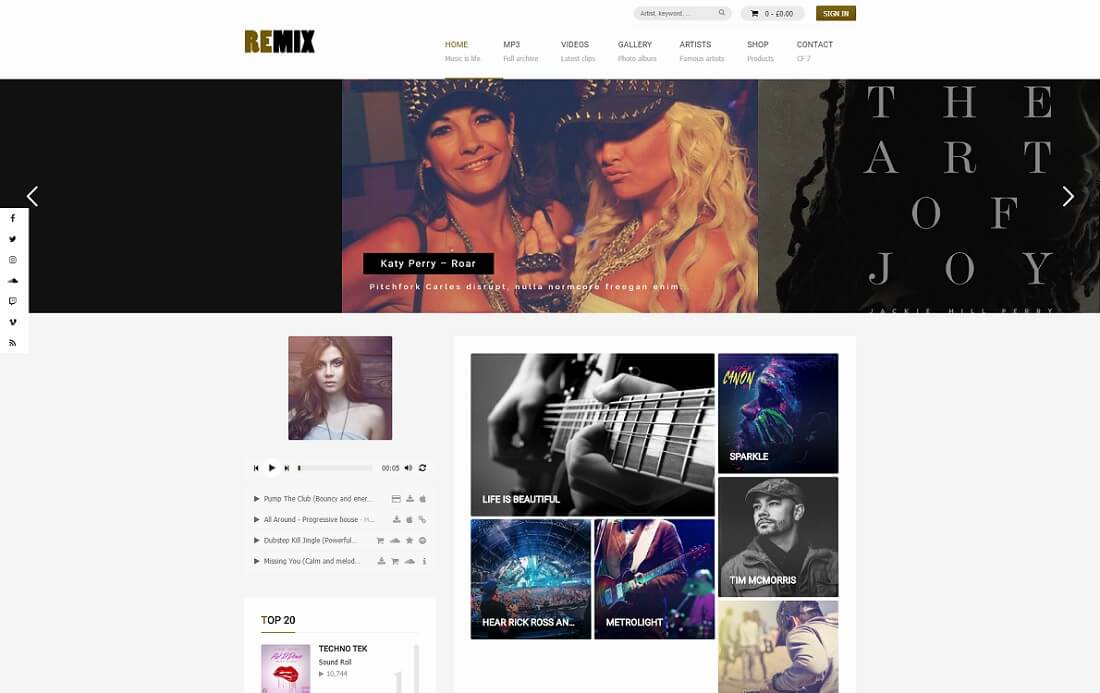 remix audio management wordpress theme