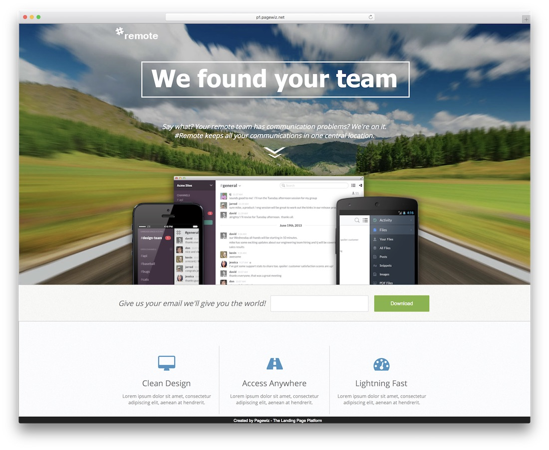 remote pagewiz landing page template