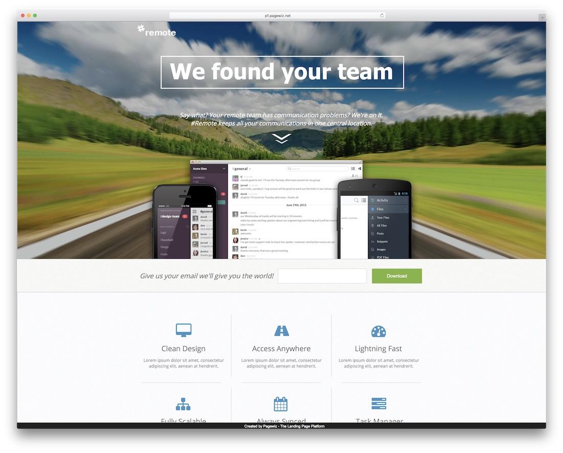 remote pagewiz marketing template