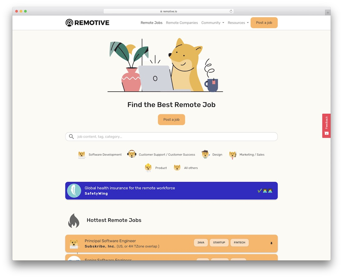 remotive tech startup job board