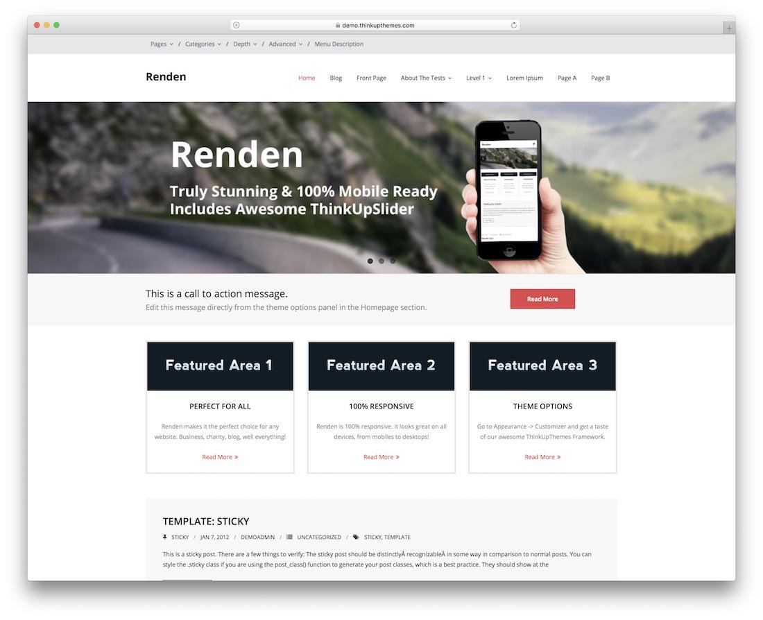 renden minimal free wordpress theme