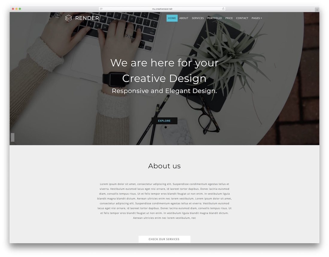 render clean adobe muse template