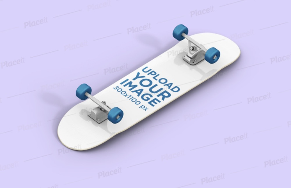 render mockup featuring a skateboard lying on a solid color surface