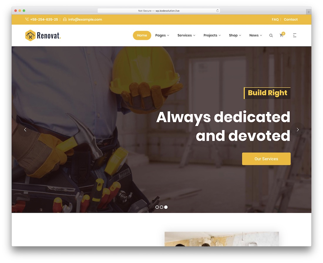 renovat electrician website template