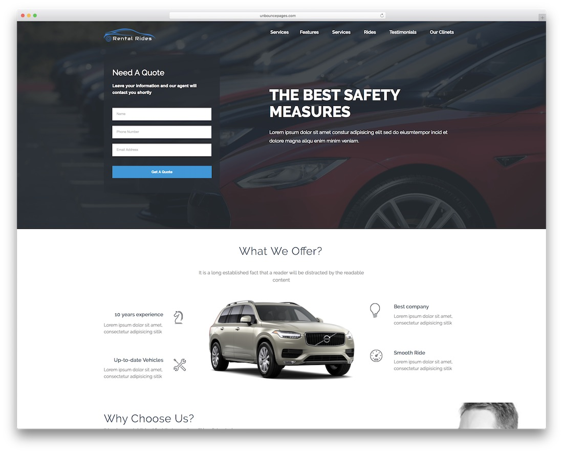 rental rides unbounce landing page template