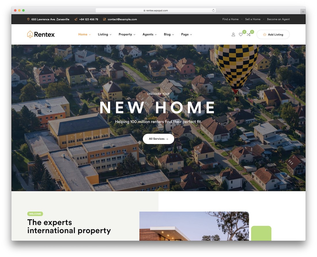 rentex real estate theme