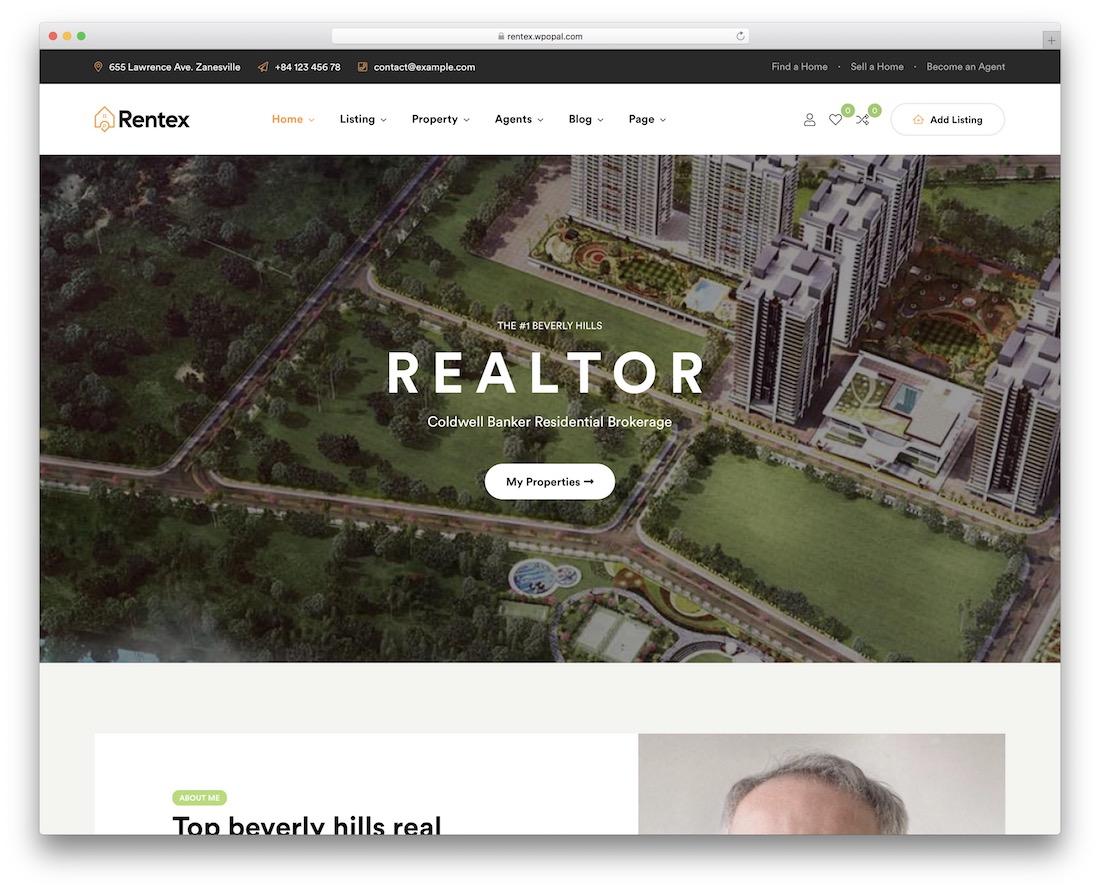 rentex real estate wordpress theme