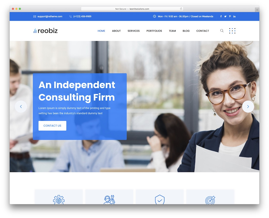reobiz financial website template