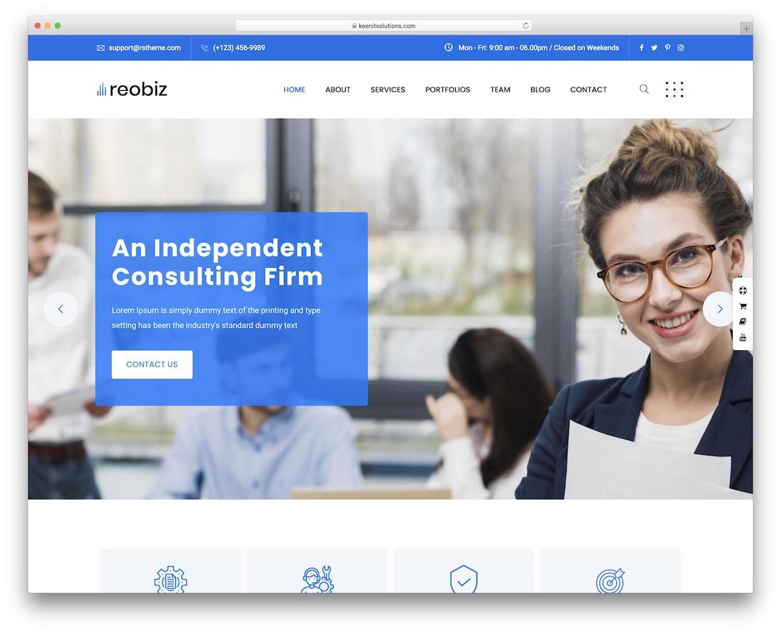 reobiz wordpress business theme