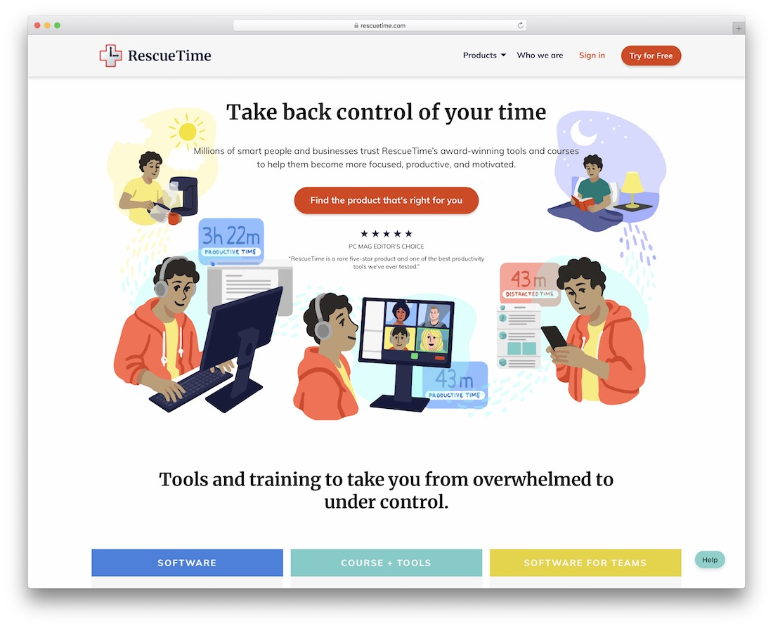 rescuetime time tracking tool