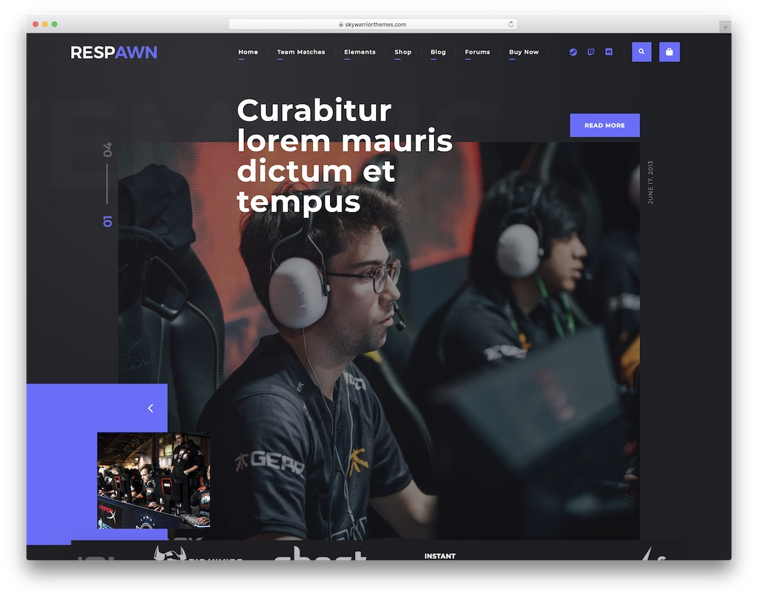 respawn esports website template design