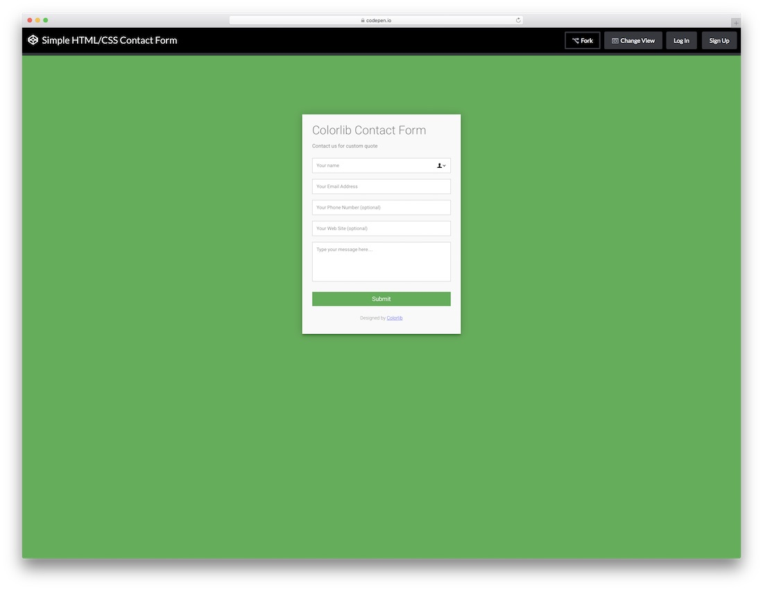 responsive colorlib contact form template