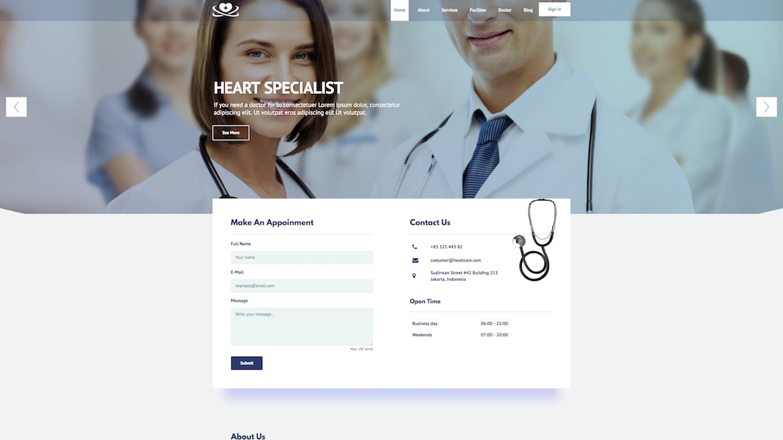responsive doctor website template