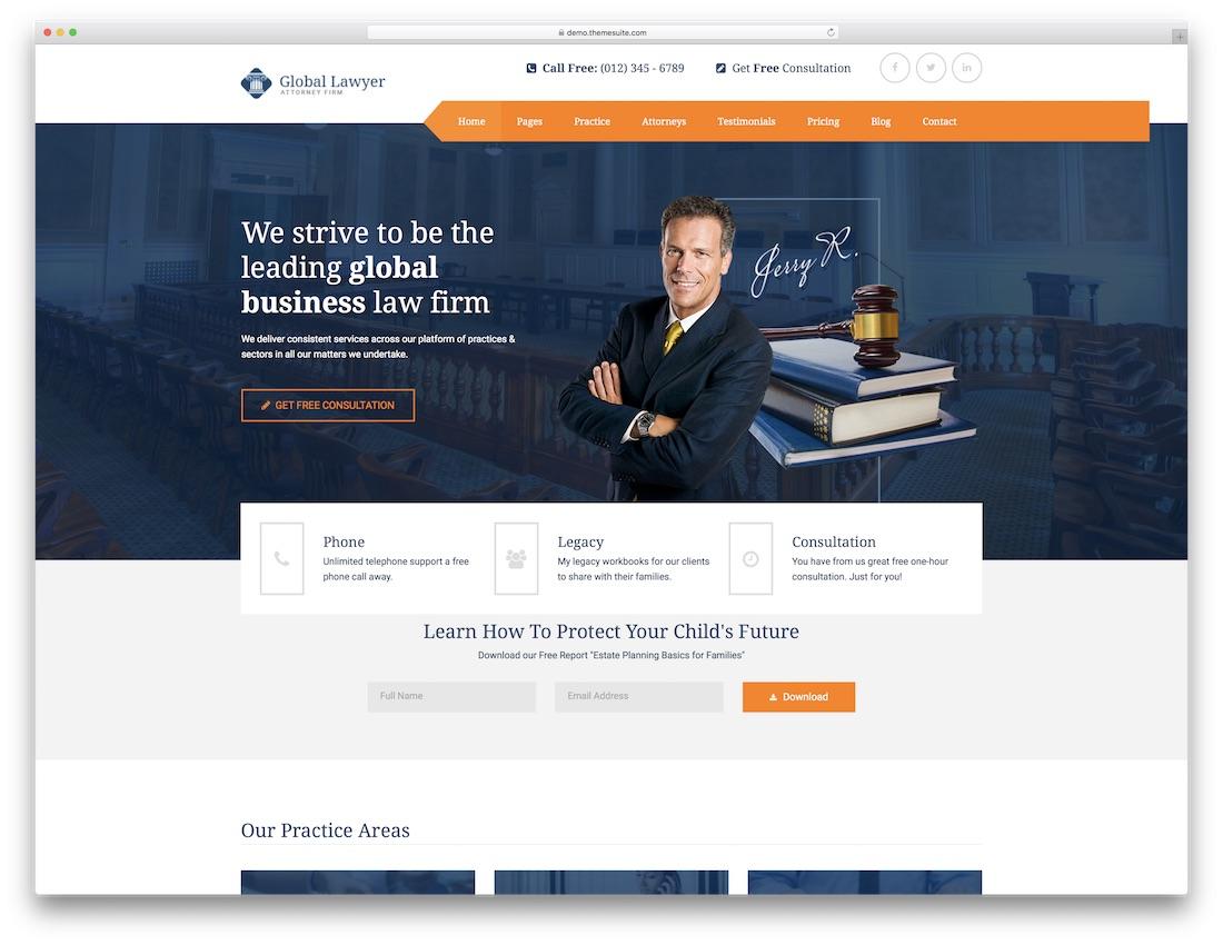 Powerful Premium Lawyer Website Templates HTML WordPress - Lawyer website template