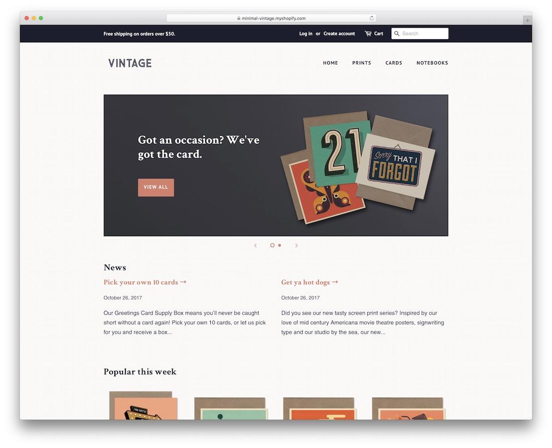 responsive minimal shopify theme