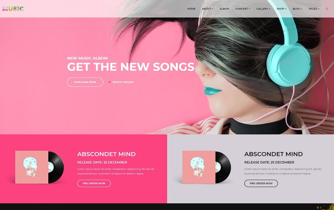 responsive musician website template
