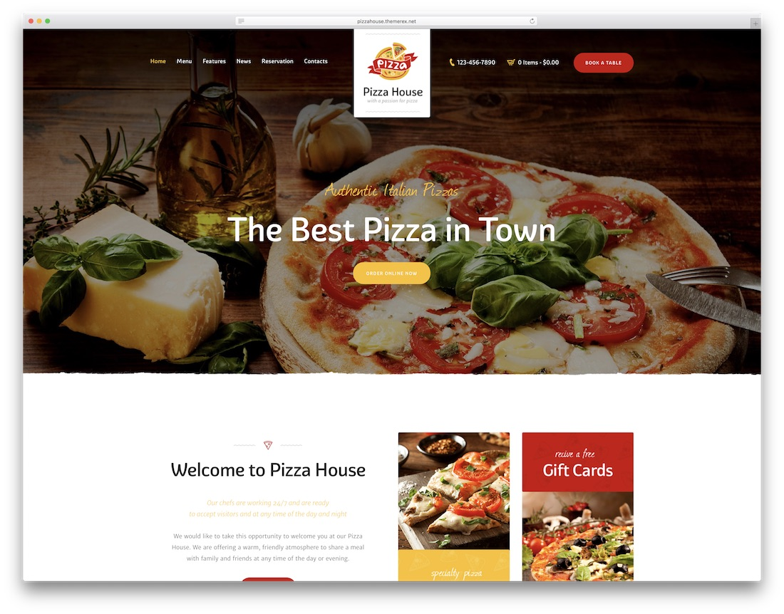 responsive pizza house wordpress theme
